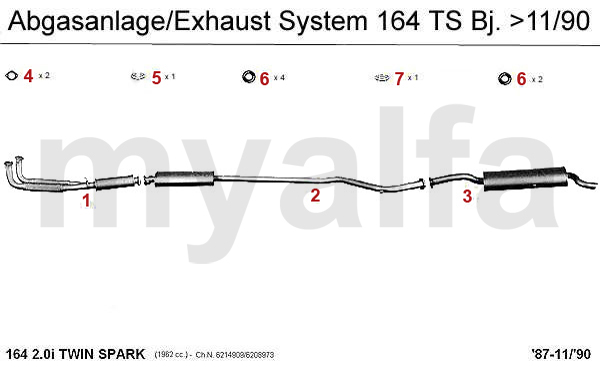 Alfa Romeo ALFA 164/SUPER EXHAUST SYSTEM 2.0 TS wo. CAT