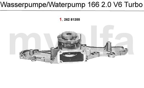 Alfa Romeo ALFA 166 COOLING SYSTEM 2.0 V6 Turbo WATERPUMP