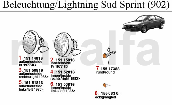 Alfa Romeo ALFA ROMEO SUD/SPRINT LIGHTING 902