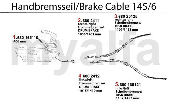 Alfa Romeo ALFA 145/146 BRAKE CABLE ALFA 145/146 BRAKE CABLE