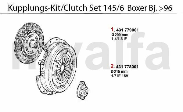 Alfa Romeo ALFA 145/146 CLUTCH CLUTCH SET 1.4/1.6/1.7 IE
