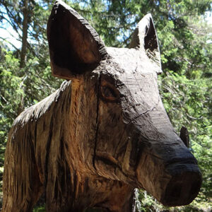 wild boar wood carving