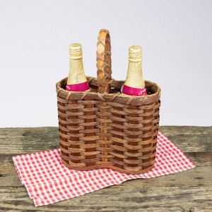 Double Wine Basket Brown