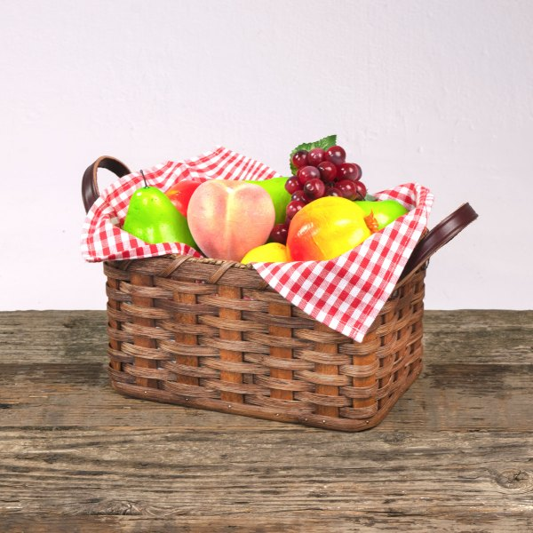 Large Fruit Basket with Leather Handle Brown