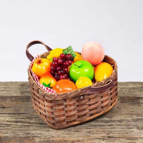 Large Heart Fruit Basket with Leather Handle Brown