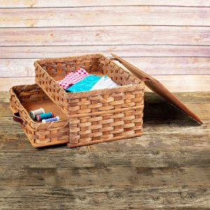 Large Sewing Chest Drawer Basket Brown