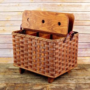 Yarn Knitting Basket Brown