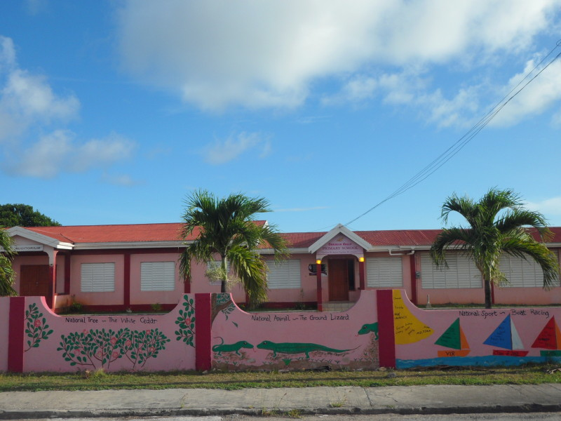 National Symbols for Anguilla painted on the school wall at the Orealia Kelly Primary School in Anguilla