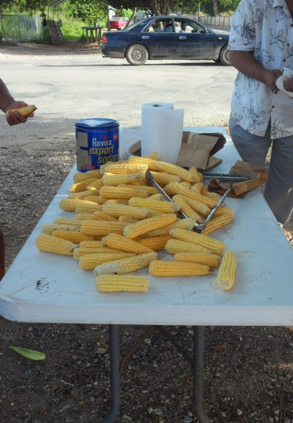 stripped corn ready for roasting in Anguilla