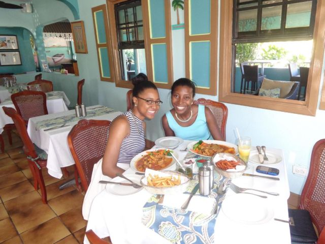 Sherise and I at Tasty's Restaurant for My Anguilla Experience's Blog Birthday