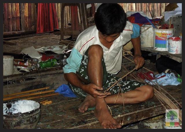 Burmese Bamboo Parasol Workshop - Pathein - Myanmar (Burma)