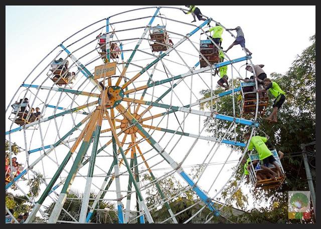Big wheel funfair Karen new year festival at Insein Myanmar 2