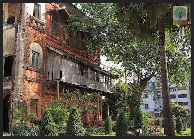 Former railway office - colonial building in Yangon - Myanmar (Burma)