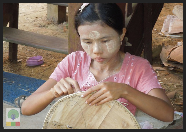 Bamboo Husk Hat Workshop Mawlamyine (Moulmein) - Myanmar (Burma) 3