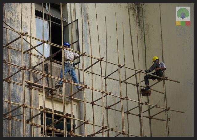 Bamboo Scaffolding and Workers - Myanmar (Burma)