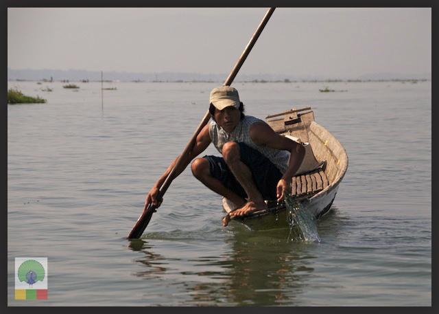 One leg paddling fisherman - Inle Lake - Myanmar (Burma) 5