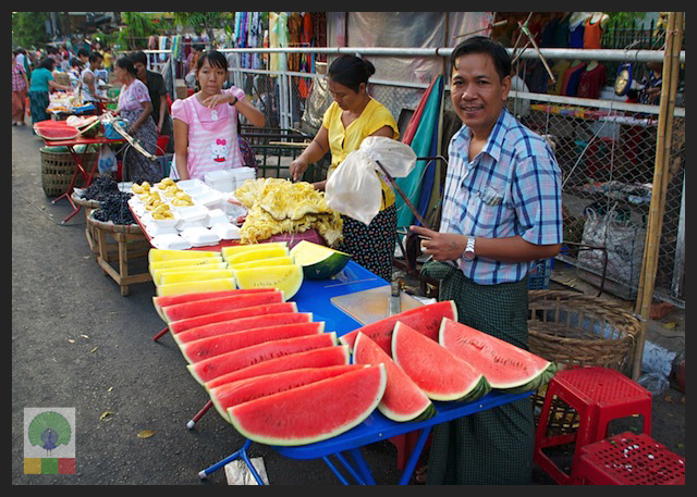Red and Yellow Watermelon - fruit stall - Myanmar (Burma)