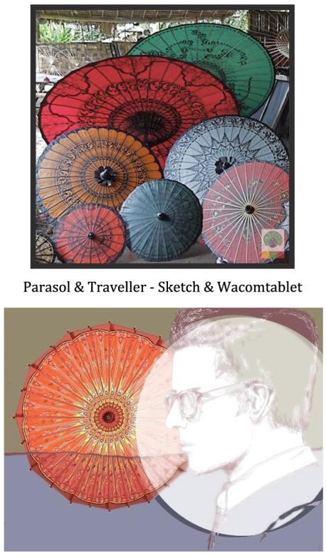 parasol & traveller - sketch & wacomtablet - Myanmar (Burma)