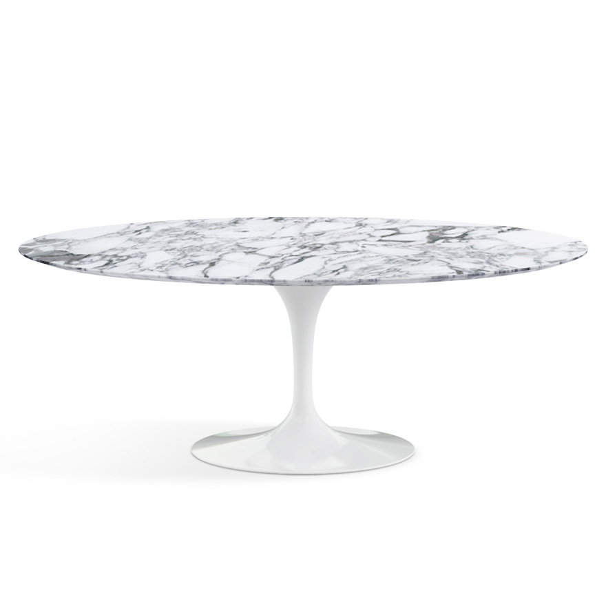 knoll table ovale tulip collection eero saarinen 198x121cm base blanche plateau arabescato marbre et aluminium