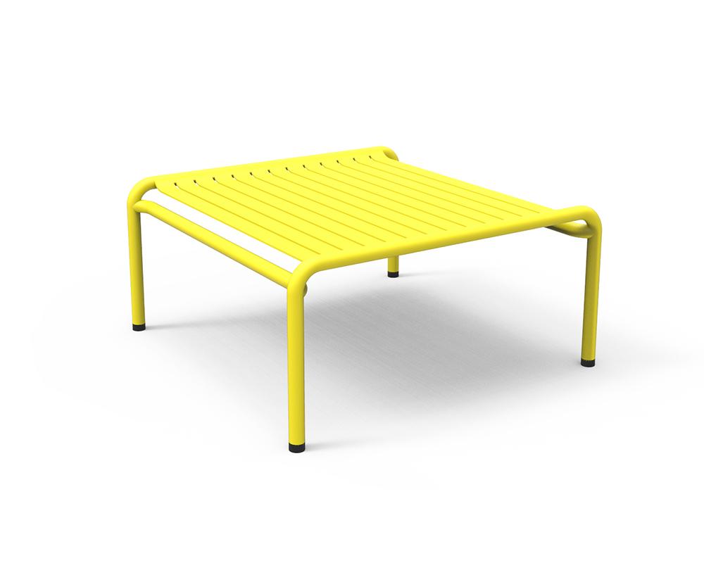 petite friture table basse pour exterieur week end jaune aluminium verni par poudre epoxy