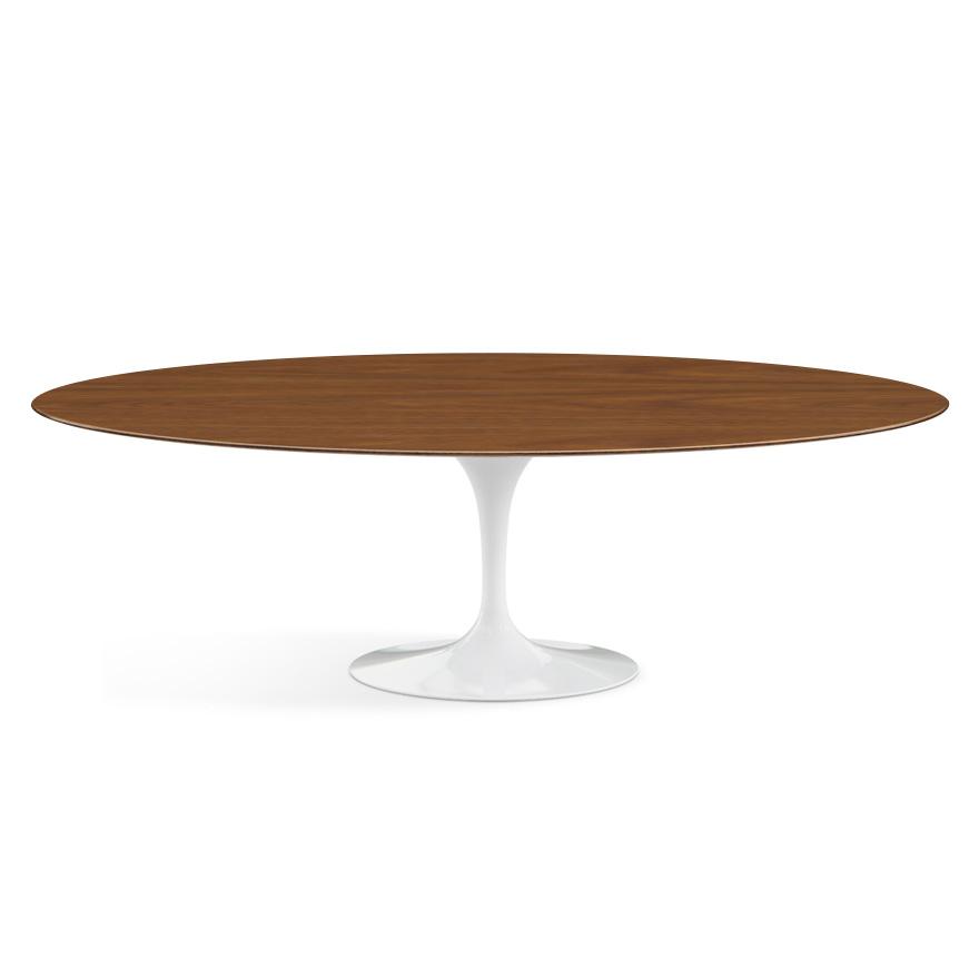 knoll oval table tulip eero saarinen s collection 244x137 cm white base walnut wood top wood and aluminium