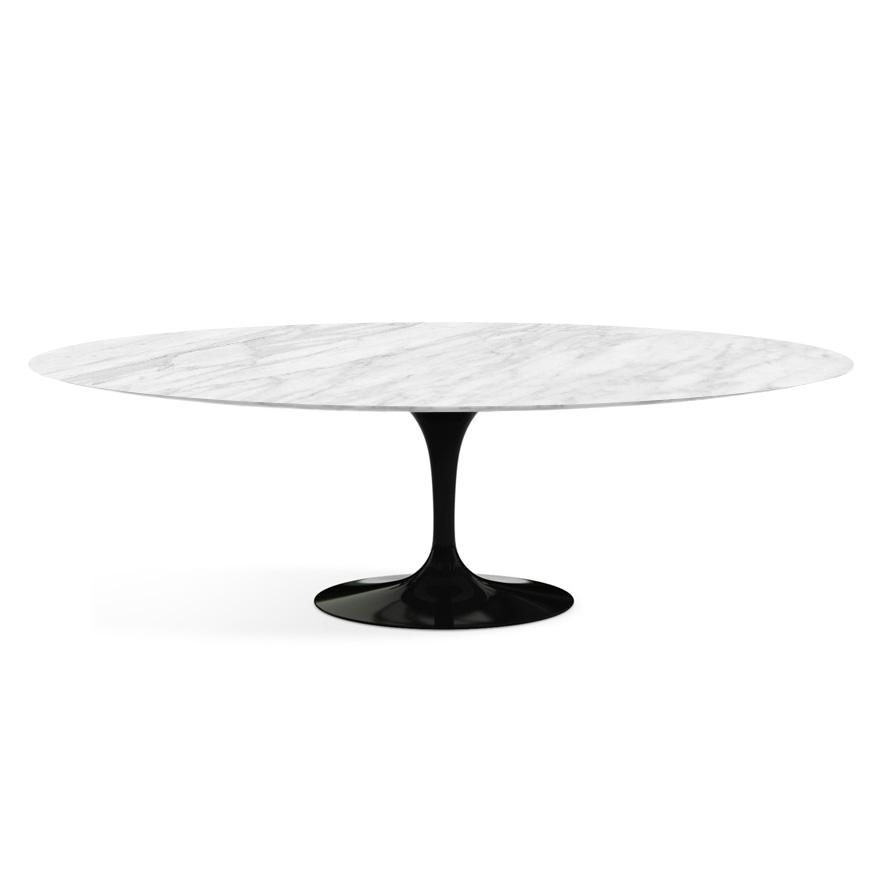 knoll table ovale tulip collection eero saarinen 244x137 cm base noire plateau statuarietto marbre et aluminium