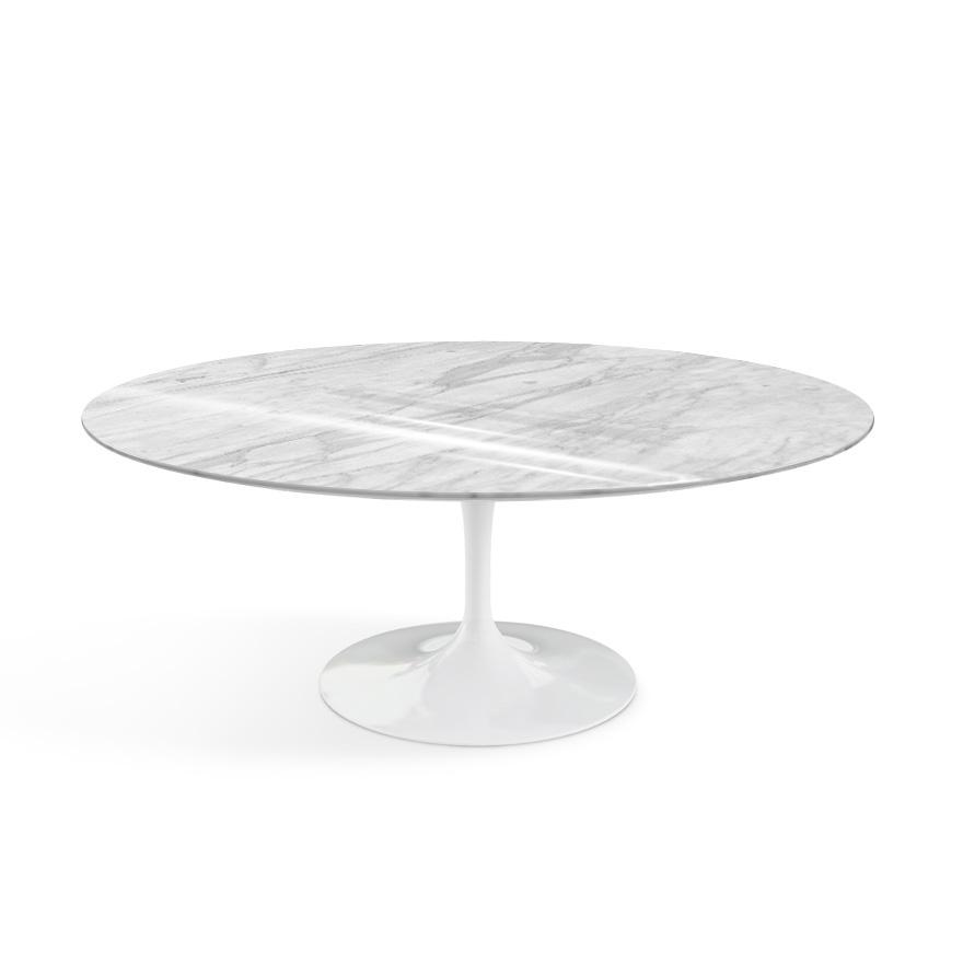 knoll table basse ovale tulip collection eero saarinen base blanche plateau statuarietto marbre et aluminium