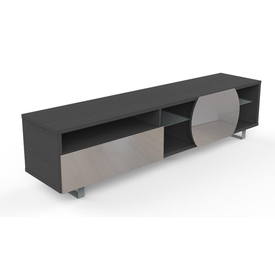 kairos home meuble tv mk195 jusqu a 75 orme fonce gris clair bois verre et metal