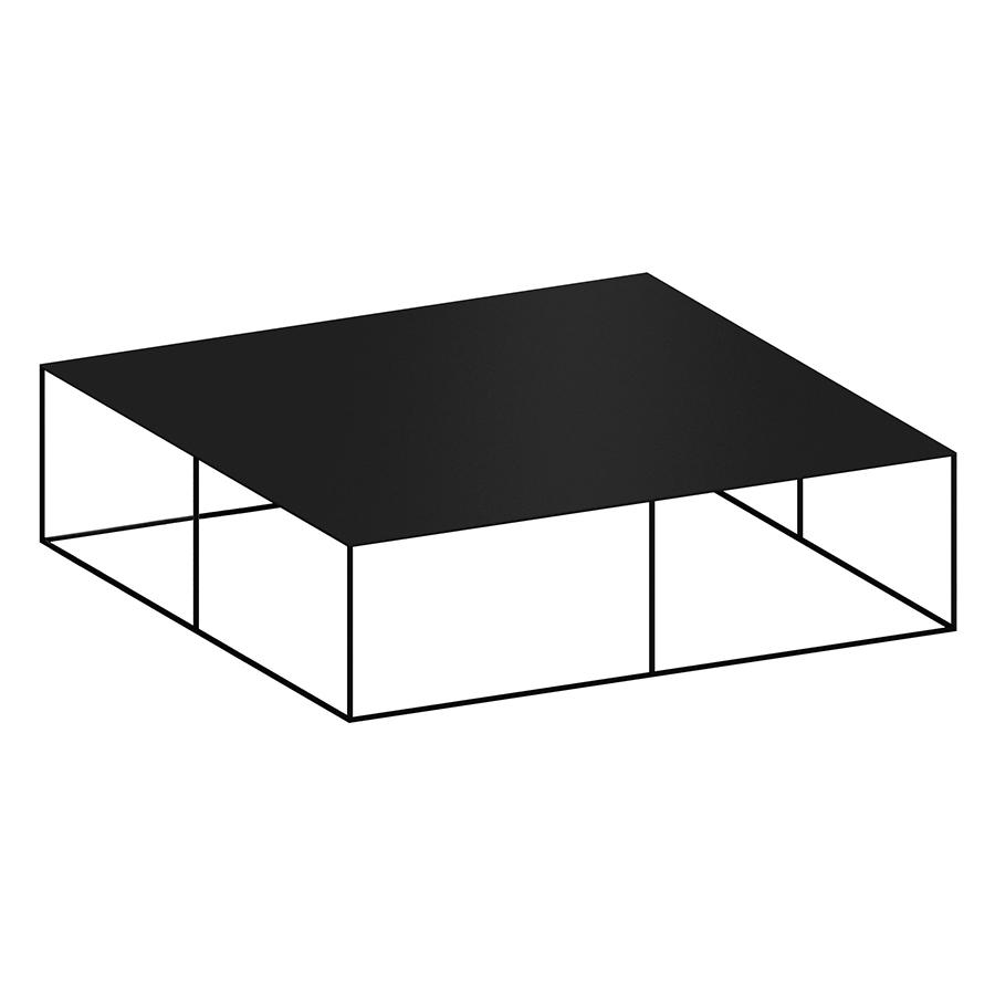 zeus table basse carre slim irony low table l 124 cm metal verni noir cuivre sable