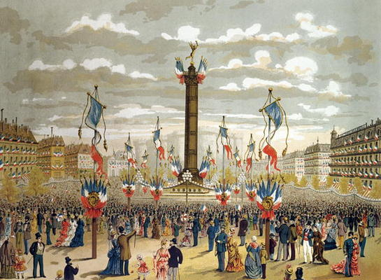Image:  French School, (19th century) - Celebration of the Quatorze Juillet at the Place de la Bastille, Paris, 14th July 1880 (colour litho