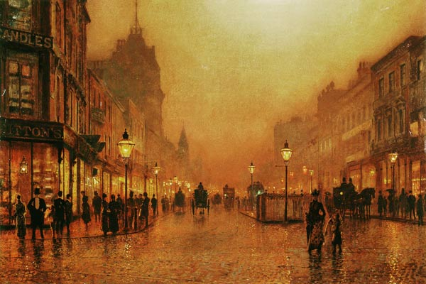 A Street at Night  John Atkinson Grimshaw as art print or