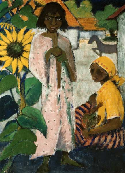 Gypsy with sunflowers  Otto Mueller as art print or hand