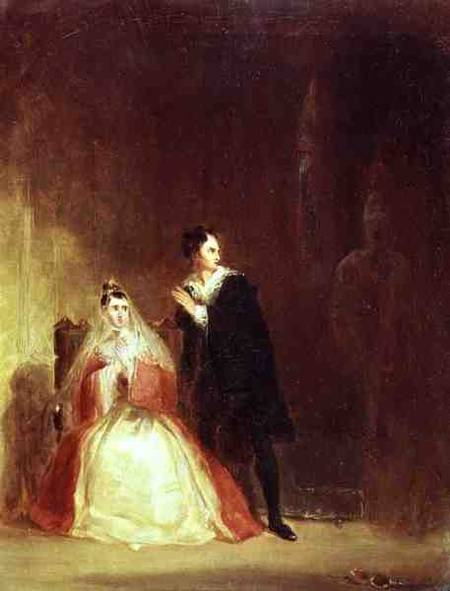Hamlet and Gertrude with the Ghost Act George Clint as art print or hand painted oil