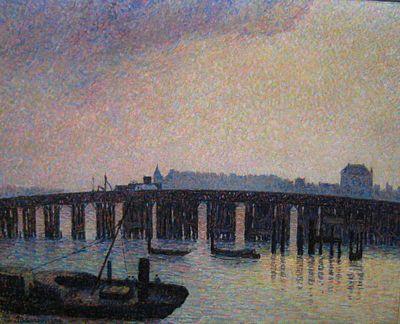 Old Chelsea Bridge, London by Pissarro, 1871