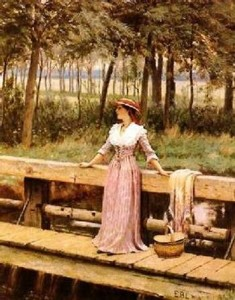 Waiting by Edmund Blair Leighton, public domain image