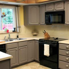 Small Kitchen Cabinets Door Handles Grey Painted In Space