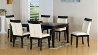 Minimalistic black and white dining table chairs designs