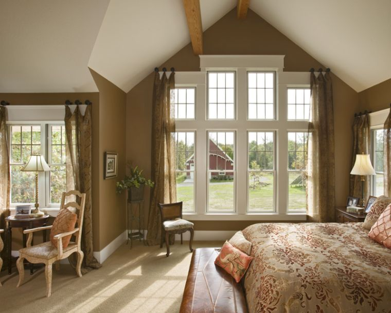 Modern vaulted ceiling master bedroom ideas giving warm