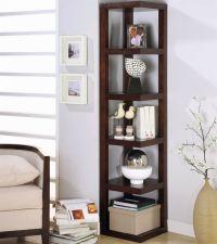 contemporary small corner shelving unit