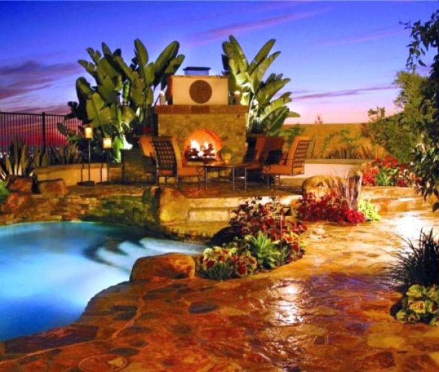 Backyard Pool Designs With Fireplace