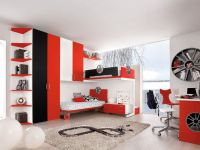 awesome motor themed red black and white bedroom ideas
