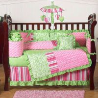 bright green and pink cute baby girl bedding ideas