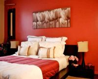 classy red black and white bedroom ideas with a bit of orange