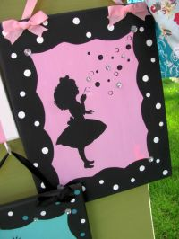 cute frame pink and black wall decor