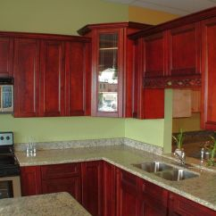 Red Cherry Cabinets Kitchen Replacing A Sink Green Wall And Popular Paint Colors For
