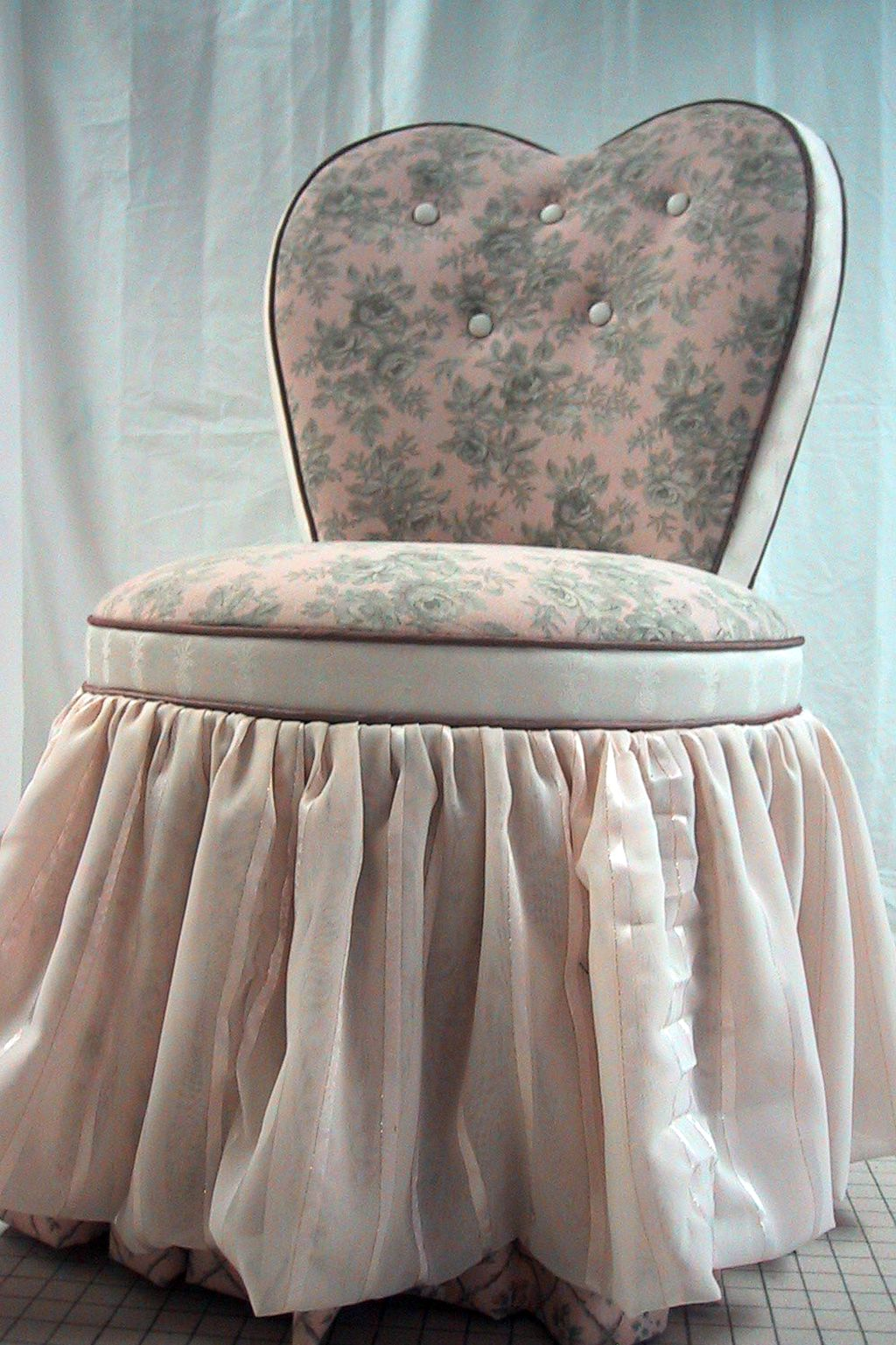 bedroom chair with skirt fishing tcg heart shaped vanity