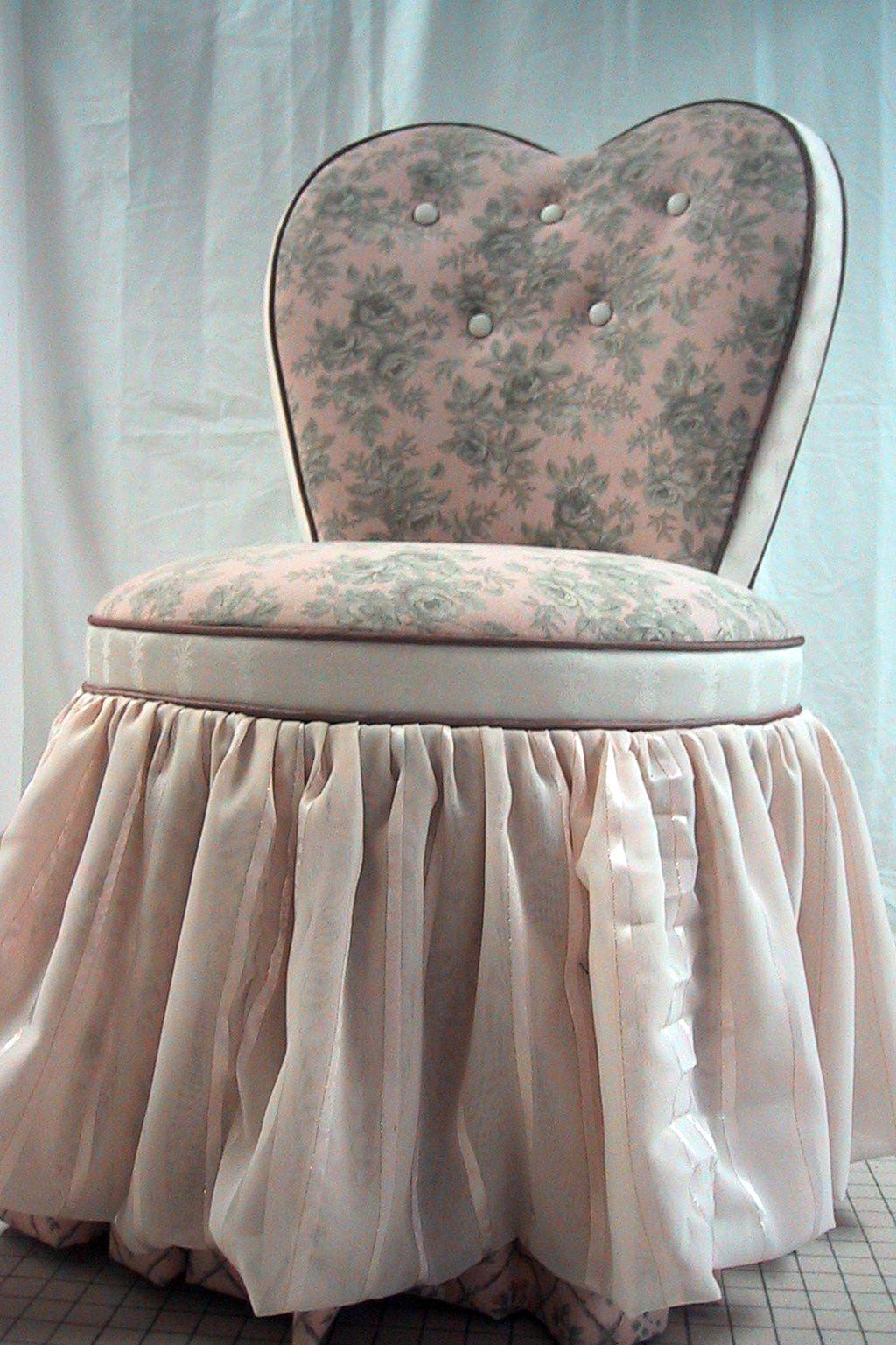 bedroom chair with skirt flexsteel prices heart shaped vanity