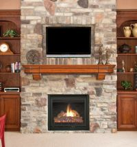 stack stone fireplaces between the shelves