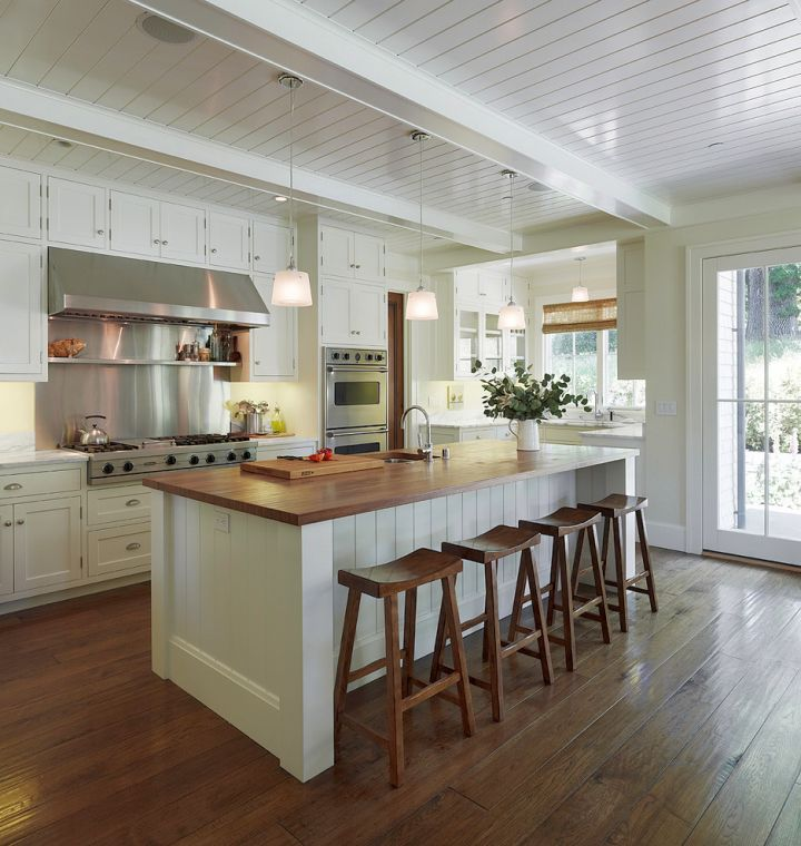 open kitchen with ceiling beams 19 Homely Exposed Beam Ceiling Rustic Interior Ideas