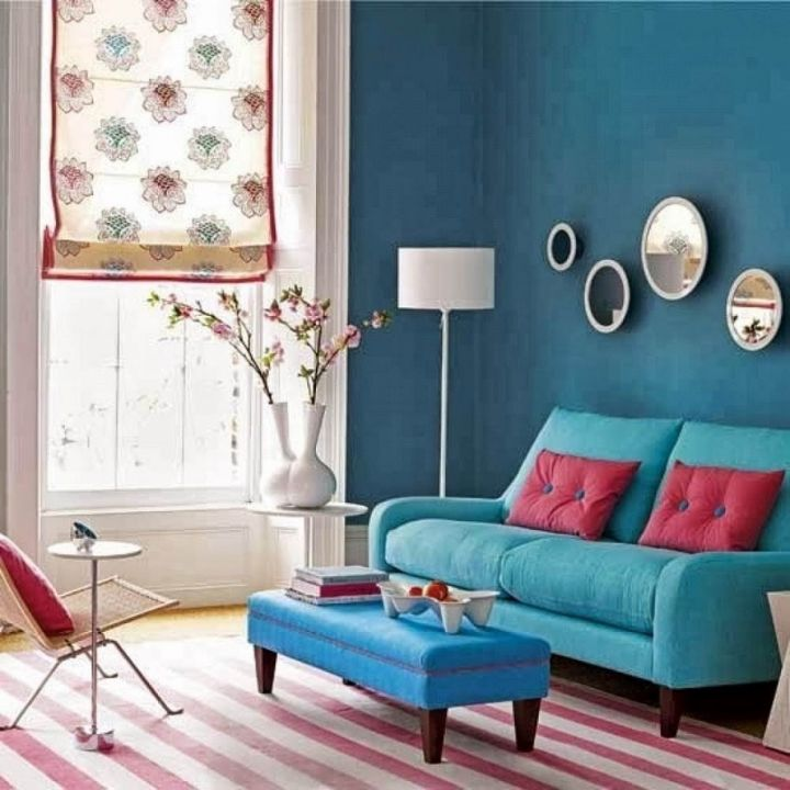 pink and aqua living room 19 Gorgeous Turquoise Living Room Decorations and Designs